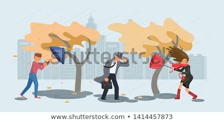 Stormy weather and man isolated illustration Stock photo © tiKkraf69
