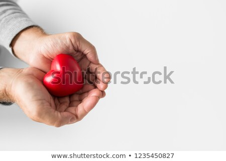 cupped senior man hands with red heart shape Stock photo © dolgachov