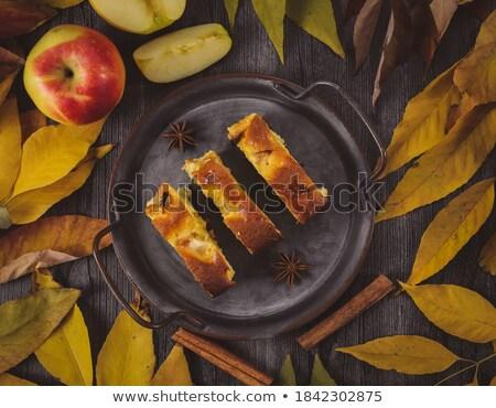 Appels vintage ijzer plaat houten top Stockfoto © masay256