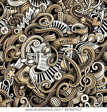 Сток-фото: Singing Song Seamless Pattern Vector