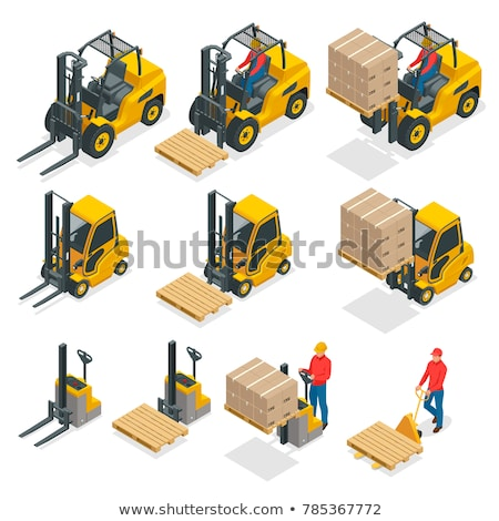 Vector warehouse forklift moving loaded pallet Stock photo © tele52