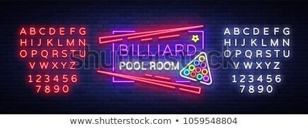 Biljart neonreclame sport promotie teken bal Stockfoto © Anna_leni