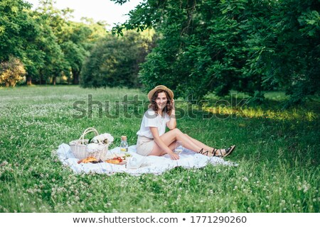 City Park and Woman on Picnic, Girl on Blanket Stock photo © robuart