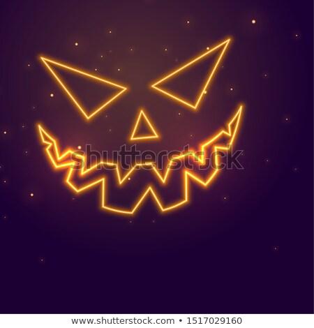 Foto stock: Neón · estilo · halloween · banner · fantasma · cara