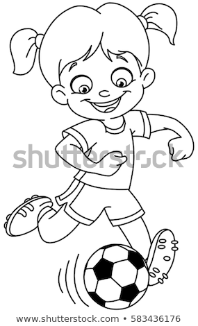Tienermeisje karakter cartoon kleurboek pagina zwart wit Stockfoto © izakowski