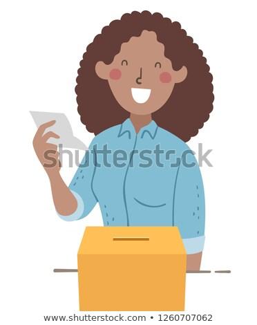 Lány tanár olvas szavazás szavazás illusztráció Stock fotó © lenm