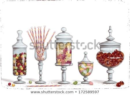 üveg bögre cukorka cseppek fehér étel Stock fotó © dolgachov