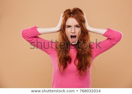 Korkmuş kırmızı genç kız çığlık atan stres başarısızlık Stok fotoğraf © dolgachov