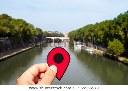 red marker at Tiber River in Rome, Italy Stock photo © nito