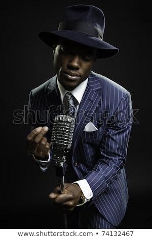 Retro gengszter énekes arc divat férfiak Stock fotó © nomadsoul1