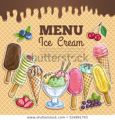 Glass With Fruit Scoop Ice Cream Banner Vector Stock photo © pikepicture