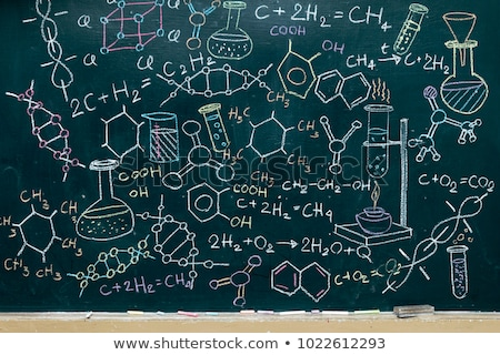 Chemical elements table on green school chalkboard with texture pattern Stock photo © evgeny89