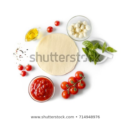 Tasty homemade pizza with tomatoes and basil Stock photo © karandaev
