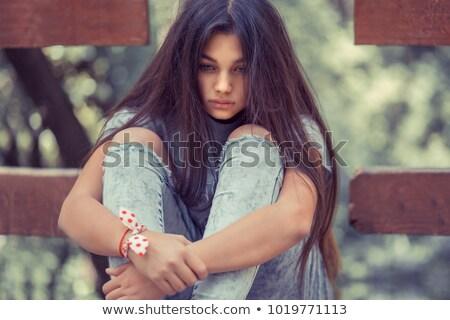 gyönyörű · hosszú · haj · barna · hajú · félvér · lány · szél - stock fotó © darrinhenry