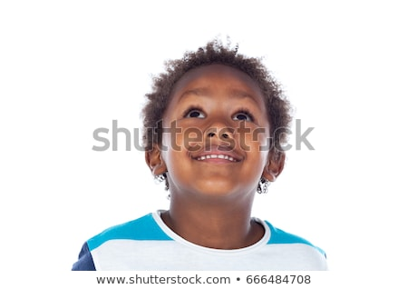 child with a pensive expression looking up isolated on white ba stock photo © dacasdo