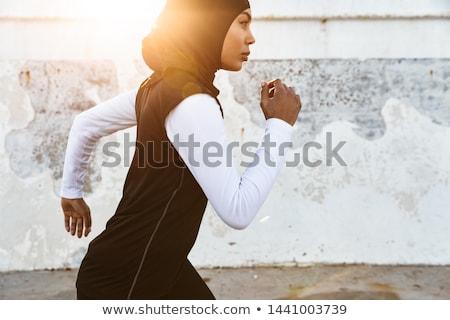 woman running with white scarf stock photo © stryjek