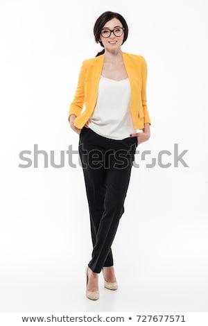 güzel · esmer · şık · ceket · kadın · uzun · saçlı - stok fotoğraf © stryjek