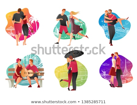 couple kissing at the beach and guitar stock photo © massonforstock