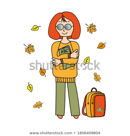 back to school young girl with autumn leafs vector illustration stock photo © carodi