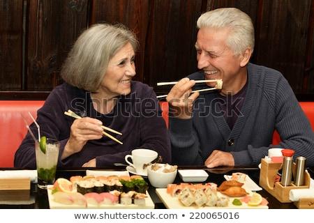 idős · pár · fine · dining · étterem · étel · asztal · hotel - stock fotó © photography33