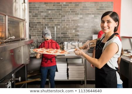 ピザ屋 ワーカー 幸せ キッチン レストラン 肖像 ストックフォト © photography33