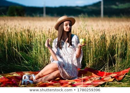 Güzel kız lies kuru ot yığını portre esmer kız Stok fotoğraf © RuslanOmega