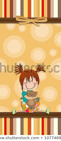 özelleştirilebilir · çocukça · kart · komik · oyuncak · ayı · sevmek - stok fotoğraf © balasoiu