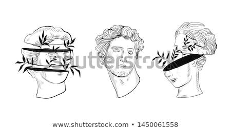 頭 · シルエット · デザイン · 絵画 · 黒 · 白 - ストックフォト © prill