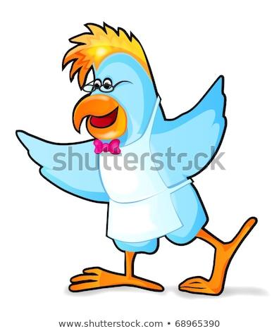 смешные · Parrot · официант · изолированный · белый - Сток-фото © RAStudio