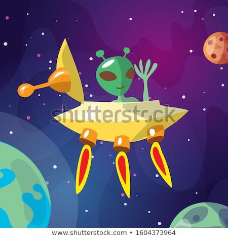 Vicces idegen leszállás bolygó mosoly hold Stock fotó © dagadu