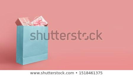 sexy · gelukkig · vrouw · rode · jurk · winkelen · geschenk - stockfoto © carlodapino