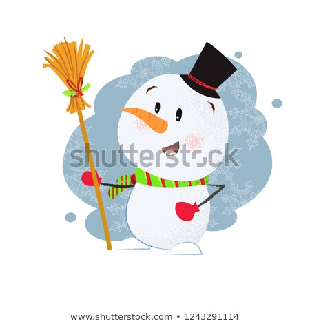 Snowman holding a broom Stock photo © photography33