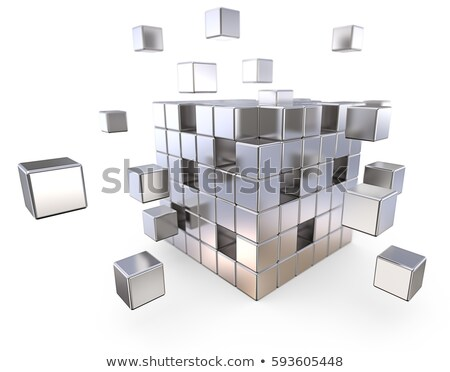 metal cube assembling from blocks Stock photo © Lupen