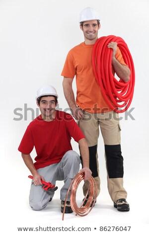Vrolijk loodgieters mannen portret werknemer industriële Stockfoto © photography33