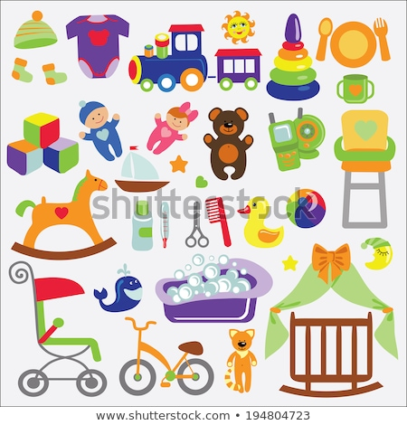 cartoon baby girl items collection stock photo © balasoiu