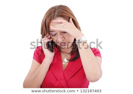 Retrato mulher falante telefone móvel telefone móvel Foto stock © dacasdo