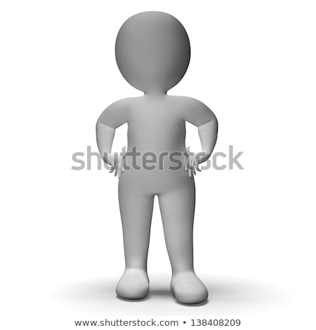 Hands On Hips 3d Man Shows Confidence Stock photo © stuartmiles