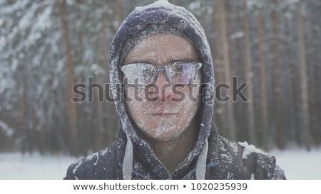 férfi · hideg · időjárás · drámai · kép · retkes - stock fotó © tobkatrina
