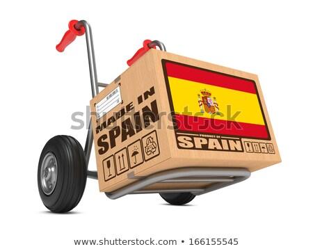 Spanje hand vrachtwagen vlag leuze Stockfoto © tashatuvango