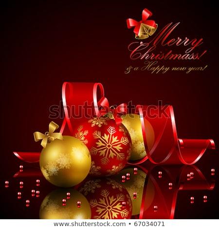 dourado · natal · neve · decoração · fita - foto stock © romvo