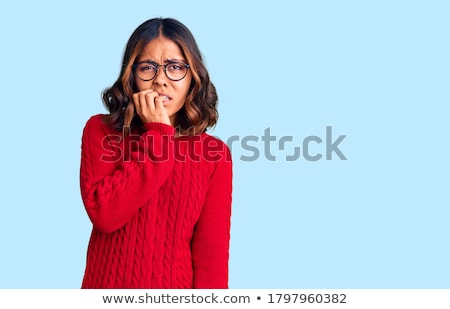 Belo mulher vermelho feliz surpreendido Foto stock © jaykayl