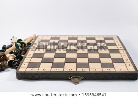 vacío · tablero · de · ajedrez · hacer · blanco · negocios · negro - foto stock © cherezoff