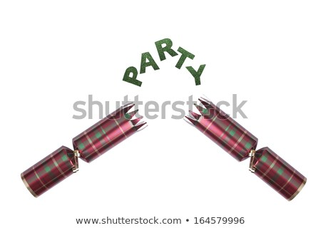 Isolated Christmas Cracker in tartan pattern with party text Stock photo © jenbray