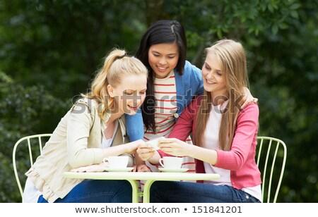 Sesión aire libre teléfono móvil nina amigos Foto stock © monkey_business