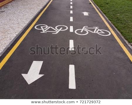útjelzés · bicikli · felhős · égbolt · 3d · illusztráció · felirat - stock fotó © stevanovicigor