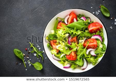 混合した · サラダ · 白 · 背景 · 緑 · 唐辛子 - ストックフォト © cynoclub