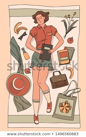 Young Women in Dresses Cartoon