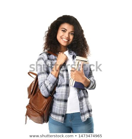 Genç öğrenci kitaplar yalıtılmış beyaz kız Stok fotoğraf © Elnur