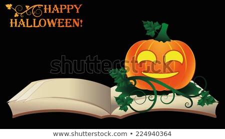 Happy Halloween. Open old book with pumpkin, vector illustration Stock photo © carodi