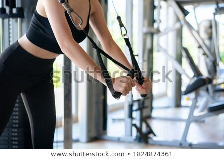 Foto stock: Pie · cable · volar · mujer · entrenamiento · gimnasio